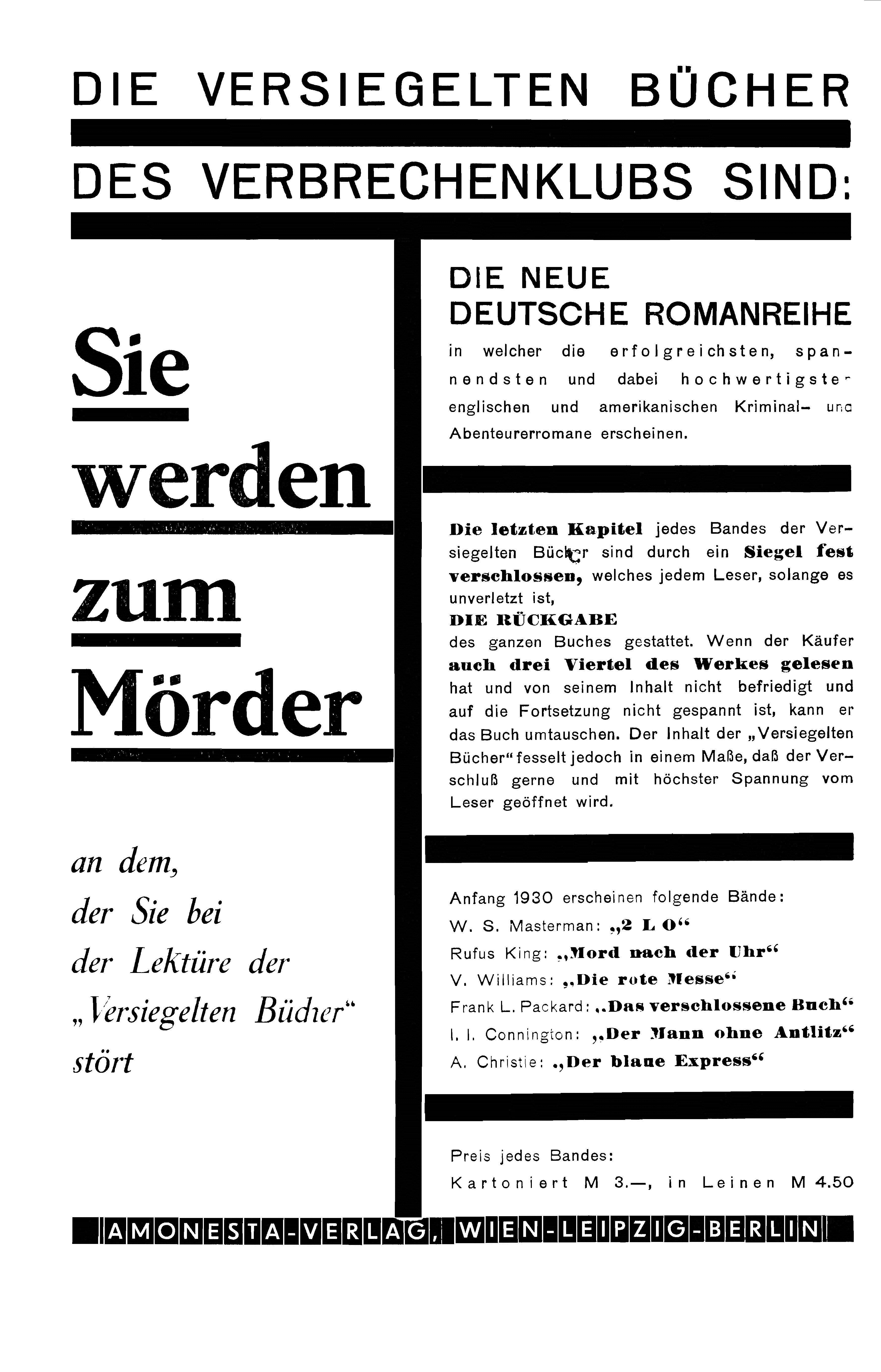 Amonesta Versiegelte Bücher 1930