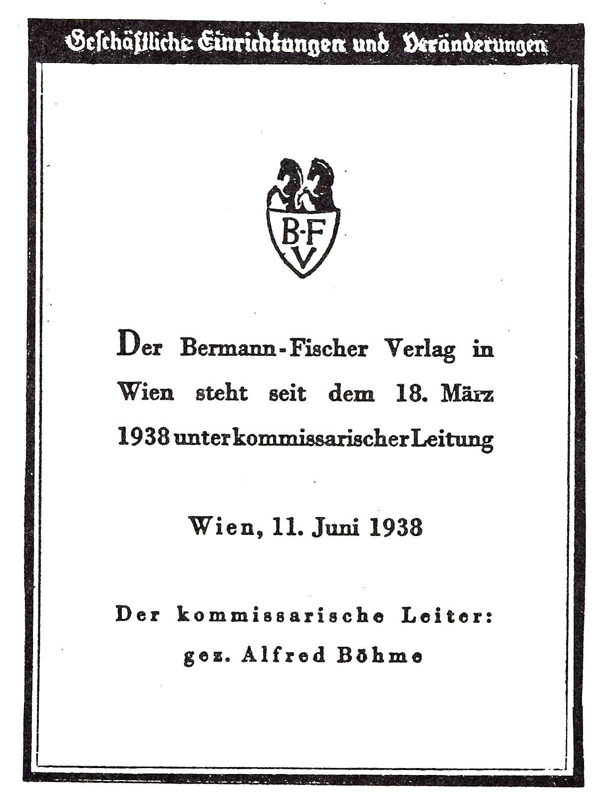 Bermann Fischer kommissarische Leitung