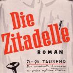 Sonderprospekt für den Bestsellerroman Die Zitadelle (1938) von A.J. Cronin (1896–1981) Einbandentwurf Rudolf Geyer.