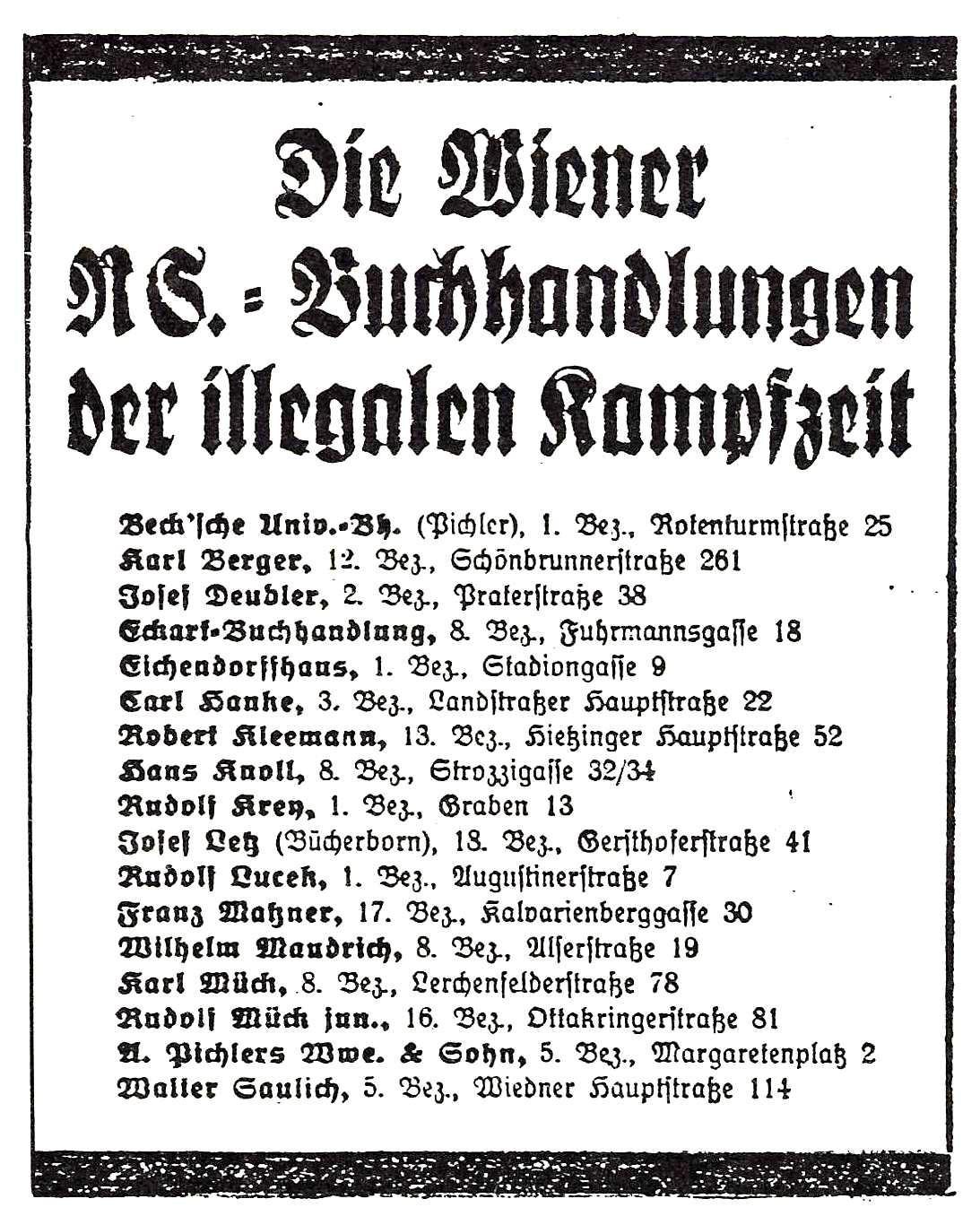 Die Wiener NS-Buchhandlungen