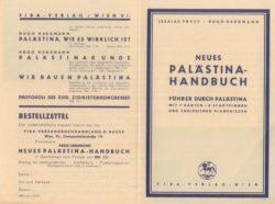 Faltprospekt für Neues Palästina-Handbuch 1934