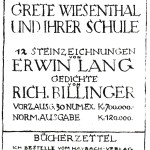 """Bestellzettel für E. Langs """"Grete Wiesenthal und ihre Schule"""" (1923)"""