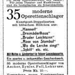 Anzeige für Schatzkästlein moderner Operetten