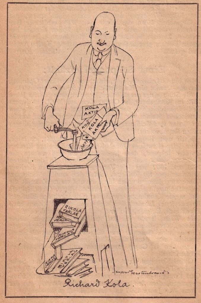 Richard Kola. Zeichnung von Alfred Gerstenbrand 1922