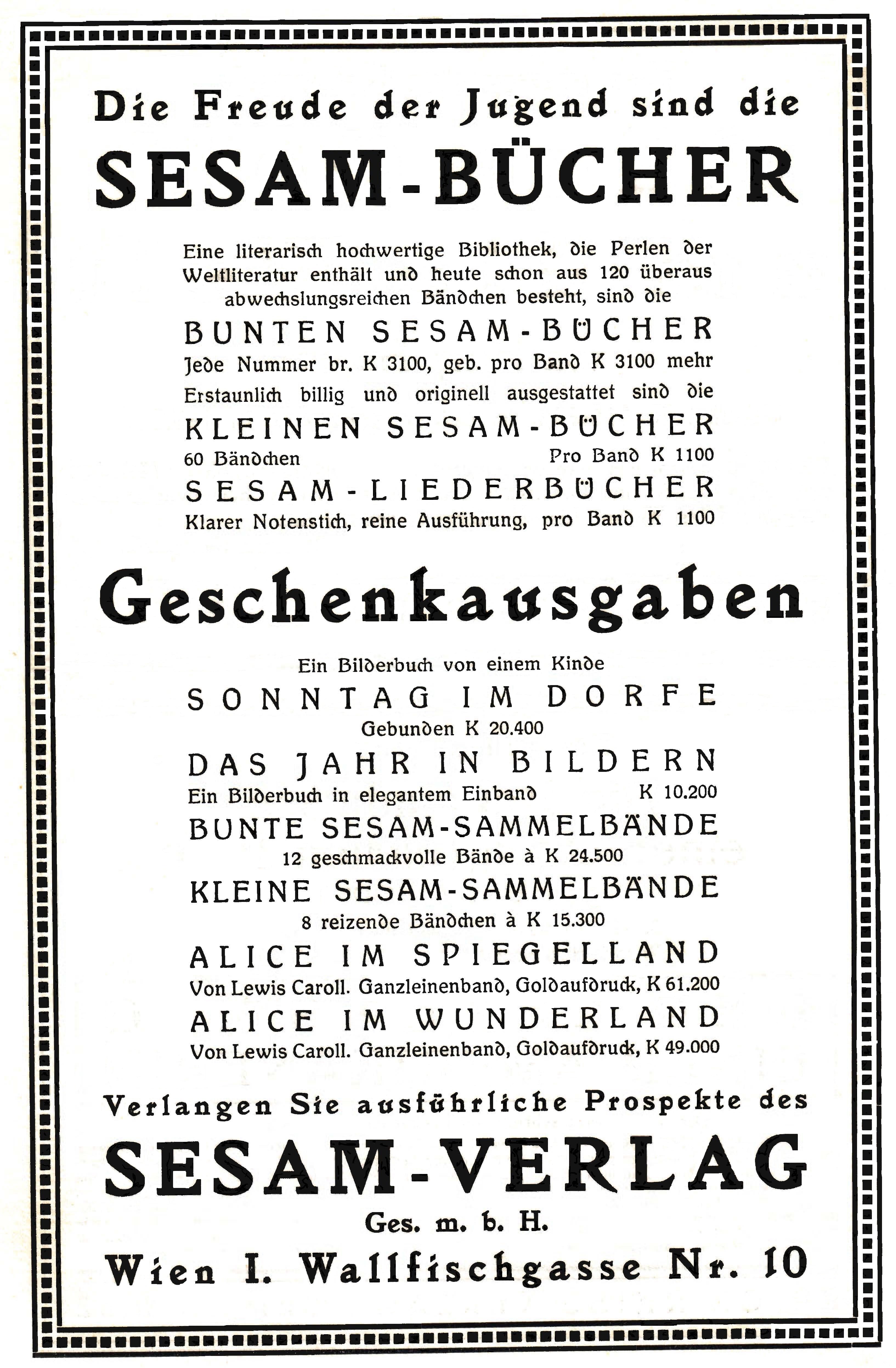 Sesam Verlag Anzeige