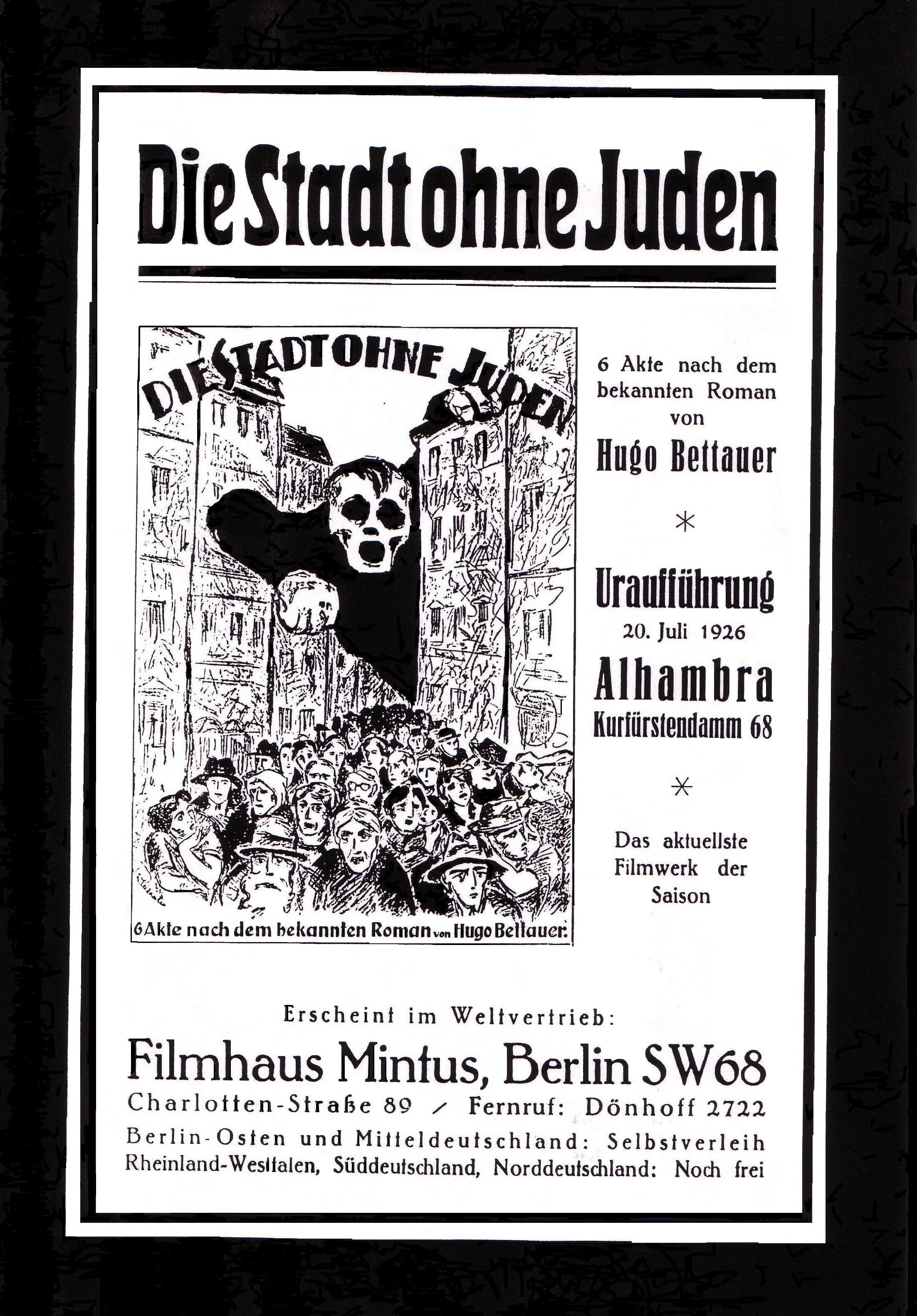 Plakat für die Uraufführung der Verfilmung von Bettauers 'Die Stadt ohne Juden' in Berlin