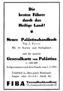 Verlagsanzeige für Palästina-Bücher