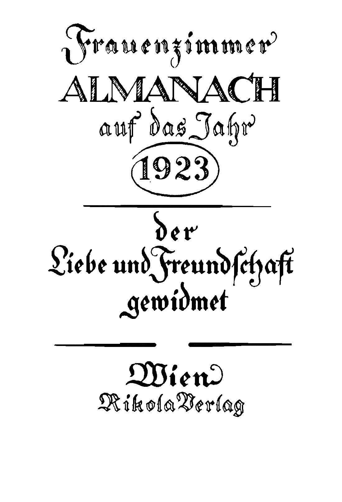 Anzeige für den Frauenzimmer-Almanach