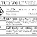 Dies ist eine Anzeige, die Artur Wolf im Jahr xy geschaltet hat.