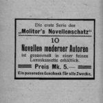 Werbung für die erste Serie von Molitor's Novellenschatz.